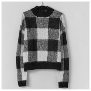 NWT. Bershka Black/White Checked Sweater. Size XS.